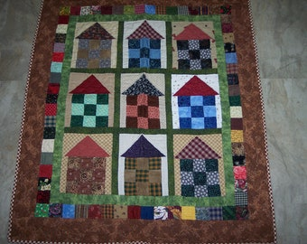 "Hand quilted 38"" X 42"" house wallhanging with generous hanging sleeve.  Stunning colors and reversible"