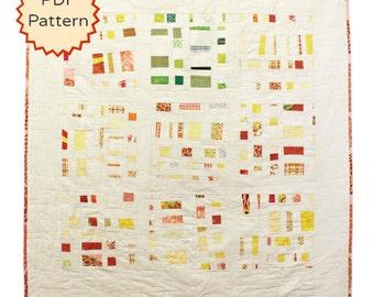 Downloadable Modern Quilt Pattern. Improvisational Confetti Quilt Pattern by Peppermint Pinwheels