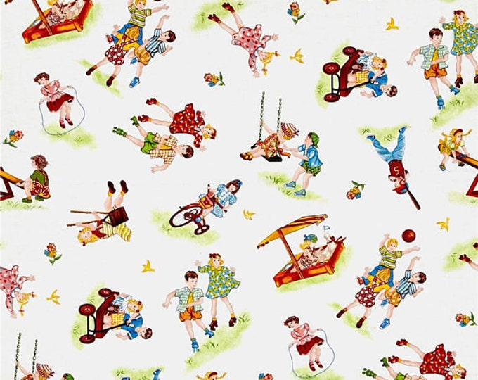 WEE PLAY CHILDRENS Cotton Fabric by Kathy Brown of The Teacher's Pet for Red Rooster