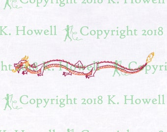 Dragon Hand Embroidery Pattern, Dragon, Draco, Chinese Dragon, Chinese, Asian, Long, Fire, flame, Snake, New Year, Lizard, PDF
