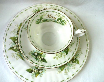 Royal Albert May Tea Cup and Saucer Place Setting, Lily of the Valley, Tea Cup and Saucer Gift, May Birth Month Gift,  May Tea Cup