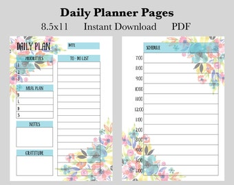 Daily Planner Pages, Instant Download Printable Planner Pages, 8.5x11 Daily Calendar Pages, Undated Planner Pages, 2017 Planner