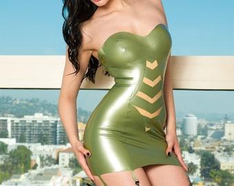 Holly Latex Strapless Garter dress