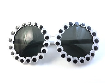Round White Googly Eye Sunglasses