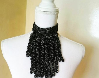 Free shipping/Modern croched screw fringed-twist tassels neacklace wrap silvery black color shawl,collar,neacklace/woman accessories