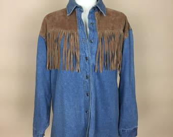 1990's Seruchi Western Denim Long Sleeved Shirt with Fringe