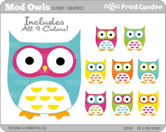 70% OFF SALE! - Cute Owls (Mod) - Digital Clip Art - Personal and Commercial Use - whimsical owls mod retro cute colorful