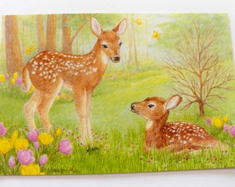 Vintage Get Well Card, Deer Fawn Get Well Greeting Card Unused, Get Well Wish