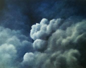 Original Painting, Oil Painting, Fine Art Painting, Home Décor, Wall Décor, Decorative Wall Art, Canvas Painting, Sky, Blue, Air II, 36 x 48