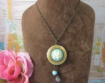 Round Brass Locket Necklace.  Gift for her.  Anniversary, Birthday, Christmas.