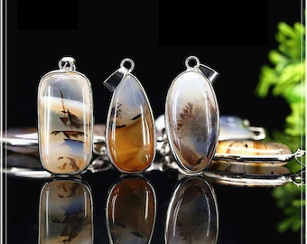 Natural Ocean Landscape Agate Stone Pendant Beads with Metal Electroplated Edge- DY00209