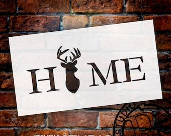 Home - Deer - Word Art Stencil - Select Size - STCL2157 - by StudioR12