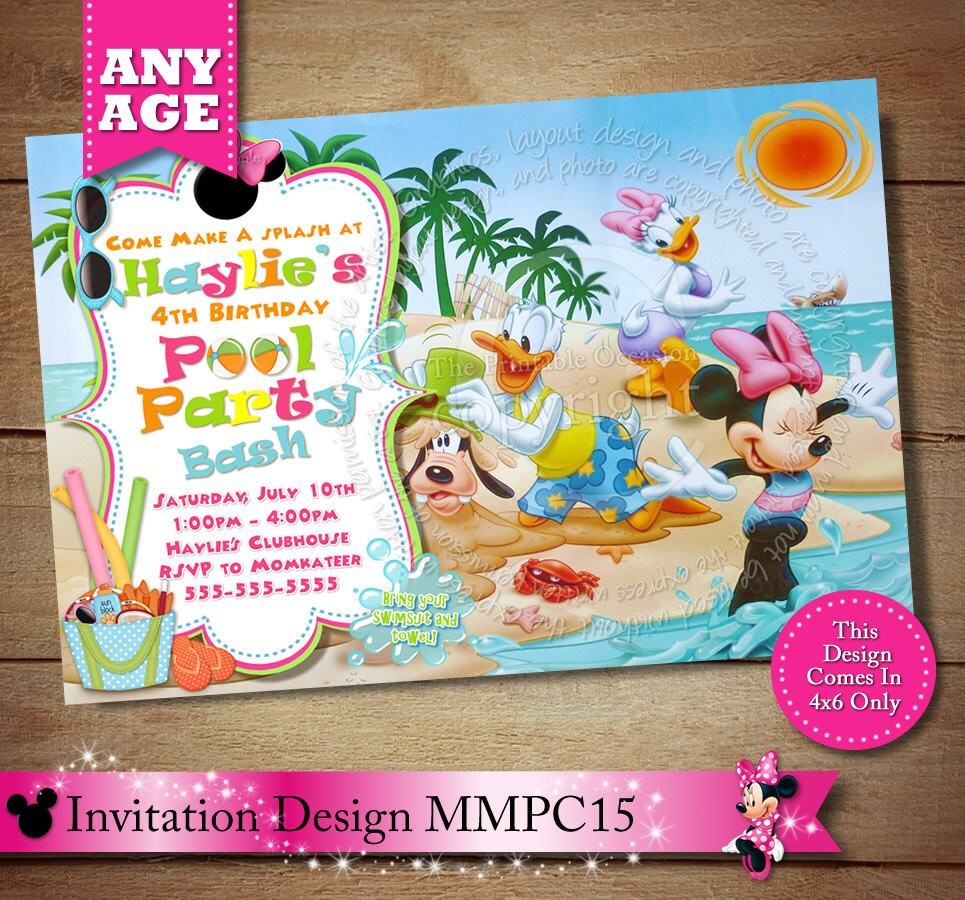 Minnie Mouse Beach Invitation Minnie Mouse Pool Party
