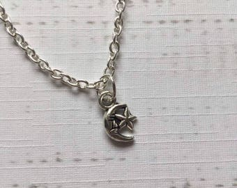 Moon and Star Necklace, Dainty Moon Necklace, Silver, Boho Necklace, Gift for Her, Birthday Gift, Bohochic, Alternative