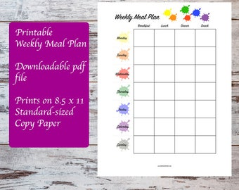 Rainbow Printable Weekly Meal Plan Template, Meal Planning