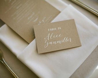 Wedding Place Card // calligraphy place card // calligraphy table card // place card // seating card // folded place card // wedding seating