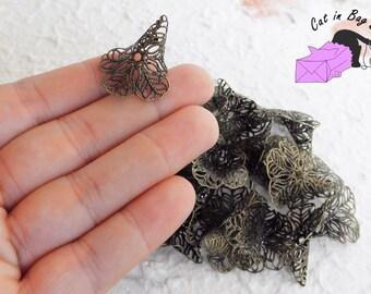 6 Filigree Bead Caps, Flower 24x29 mm - Antique bronze tone - SP13