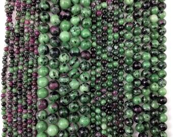 Natural Ruby Zoisite (Tourmaline Jade)  4mm/6mm/8mm/10mm Round Beads, Full Strand J1202