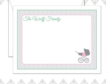 Baby Carriage Stationery Set of 10 with envelopes, Baby Stationery, Baby Blanket & Stroller, Boy or Girl Family Stationery, Herringbone,