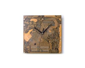 Dark Yellow Large Wall Clock - Circuit Board Clock with Black Clock Hands - Unique Wall Clock - Unique Gift - Boyfriend Gift - Husband Gift