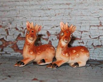 Vintage Spotter Deer Salt & Pepper shakers