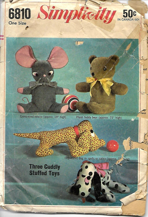 VTG 1960\'s Simplicity 6810 Set Of Stuffed Toys Sewing pattern, Dog ...