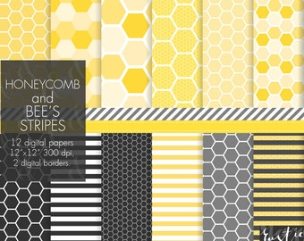SALE Honeycomb digital paper. Stripes, hexagons in yellow and black colors. Various geometric honeycomb patterns for small commercial use.