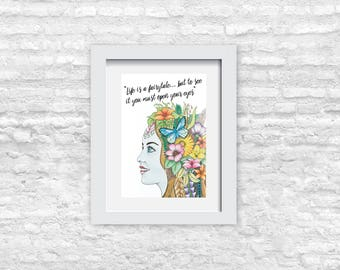 Fairytale Prints, Fairytale Decor, Fairytale Art, Fairytale Quote, Inspirational Quotes, Motivational Quote, Fairy Meme, Meme Sign, Meme Art