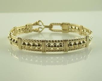 WSB-0179 Handmade 14k Gold Filled Beads Wire Wrapped Bangle Bracelet