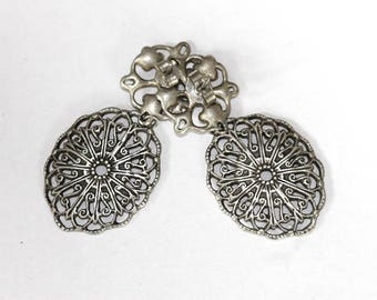 Antique Victorian style Tin dangle earrings