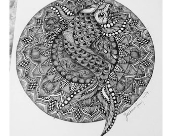A3 Koi Mandala Original Drawing