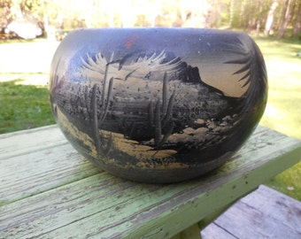 Vintage Hand Painted Terracotta Planter Southwestern Theme Cactus Desert Made in Mexico 1980s to 1990s Gray/Black/White Mountains