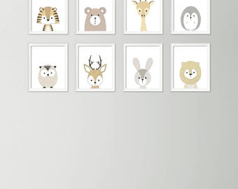Attractive Neutral Nursery Decor   Cute Nursery Wall Art   Nursery Art Set   Baby Boy Nursery  Art   Printable Nursery Art   Set Of 8 Animal Posters