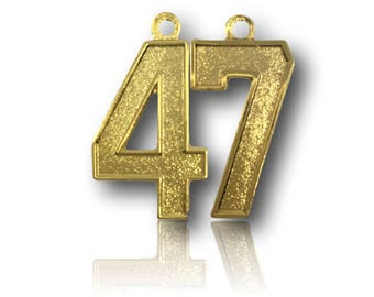 """Number 47 Jersey Style Sports Necklace Charm Pendant (0.8"""" Tall)  GOLD PLATED Football Baseball Basketball Soccer Lacrosse Hockey"""