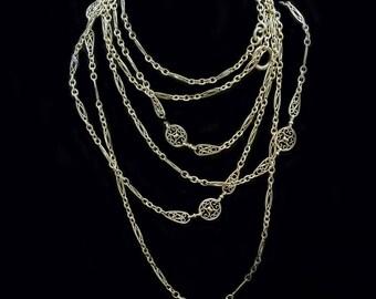 Antique Art Nouveau Long Chain Necklace Sautoir 18k Gold French Filigree (#6394)