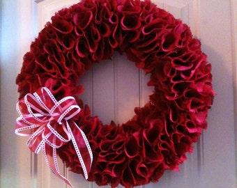 "Extra Large 23"" Red Ruffle Burlap Wreath"