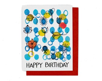 Blue Dots Flower Birthday Card  Illustrated in Watercolor and Ink