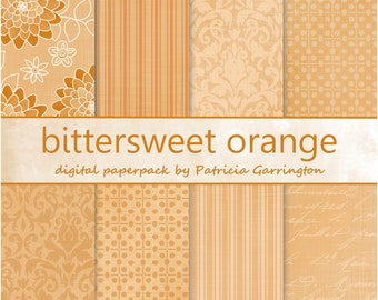 Bittersweet Orange Digital Paperpack Collection Printable INSTANT DOWNLOAD - use for papercrafts, mixed media, collage, scrapbooking