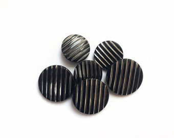 6 Black & Silver Glass Antique Buttons, 18mm, 23mm