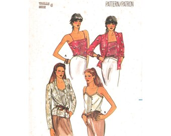 1980s Jacket and Camisole Pattern Butterick 3131 Shawl Collar Jacket Spaghetti Strap Top Pin Tucks Vintage Women Sewing Pattern Size 6 UNCUT