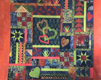 Random Heart Sampler Quilt Pattern by Quilting Fabrications Leslie Edwards