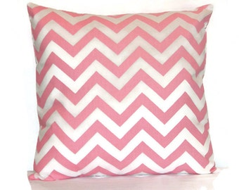 Pink and White Chevron  pillow cover, Decorative throw  pillow, pillow cover, Pink  Pillow cover, Nursery pillow,