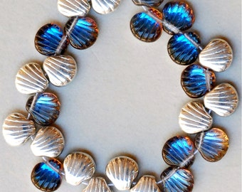 9mm Scallop Shell Bead with Top Hole - Czech Glass Shell Beads - Bermuda - Qty 25