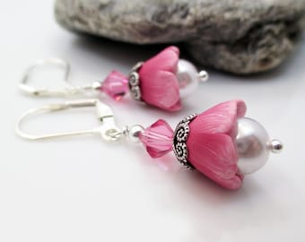 Polymer Clay Earrings, Polymer Clay Jewelry, Gift for Her, Gift for Mom, Flower Earrings, Dangle Earrings, Pink Jewelry, Christmas Gift