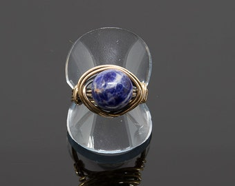 Blue Sodalite Nesting Copper Ring, Sodalite,Stone Ring,Natural Stone Ring,Wire Wrapped Ring,Copper Ring,Unique Ring,Womens ring,Blue R49B