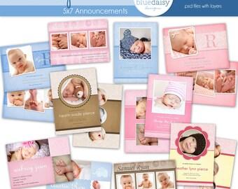 5x7 Baby Announcements (Retirement Bundle)  - Photographer Templates