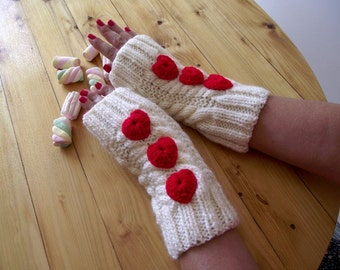 KNITTING PATTERN MITTENS - Queen of Hearts Mittens - knit mittens  Fingerless Gloves pdf Pattern Crochet Hearts Mittens Pattern Romantic