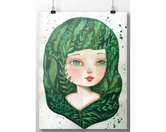 MOTHER NATURE'S DAUGHTER by Danita. A beautiful watercolor painting inspired by love of for nature and everything green in my garden