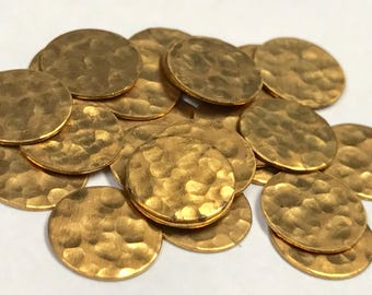 VINTAGE Brass Pebbled Stamping CIRCULAR New Old Stock Textured 10 x 0.5mm pkg25 M130