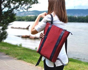 Minimalist Backpack, Laptop rucksack, Canvas leather backpack, custom zipper backpack